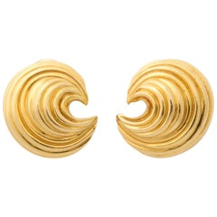 Tiffany & Co. Yellow Gold Wave Earclips