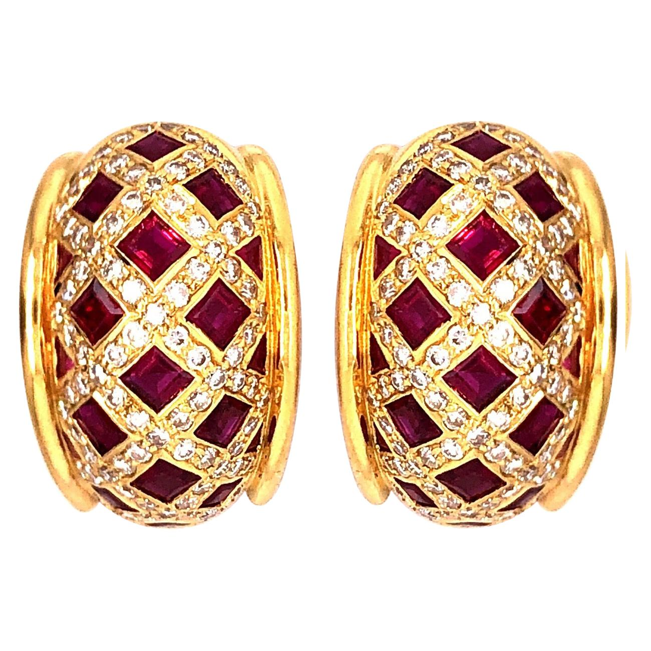 Tiffany & Co. Ruby and Diamond Earrings