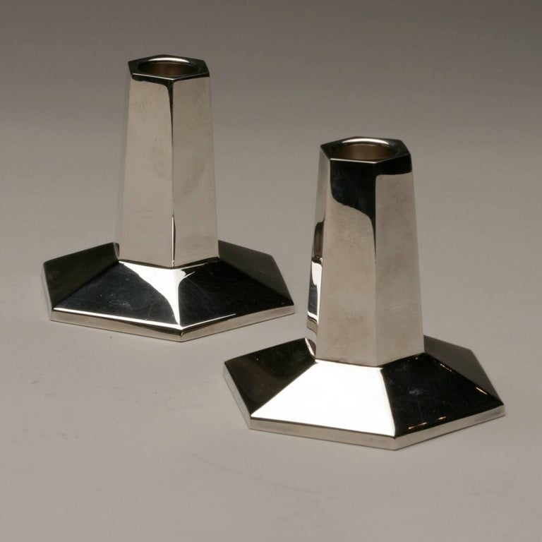 Modern Tiffany and Company Sterling Silver Candlesticks by Frank Lloyd Wright For Sale