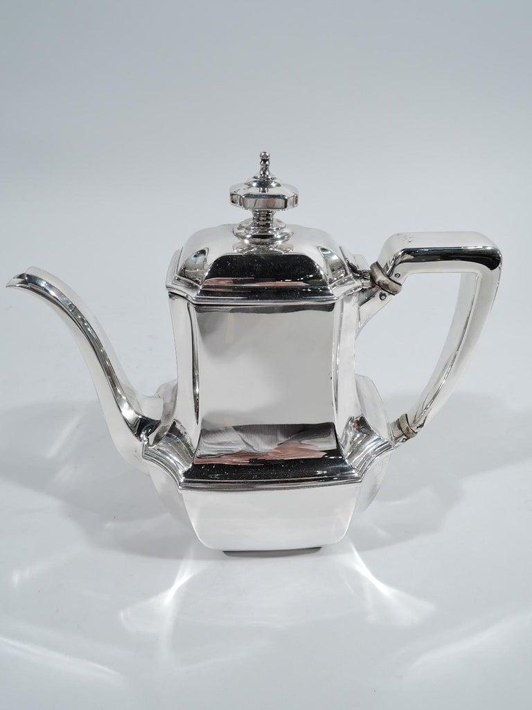 American Tiffany Art Deco 6-Piece Coffee & Tea Set in Hampton Pattern on Tray