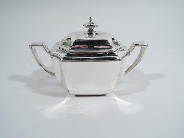 Sterling Silver Tiffany Art Deco 6-Piece Coffee & Tea Set in Hampton Pattern on Tray