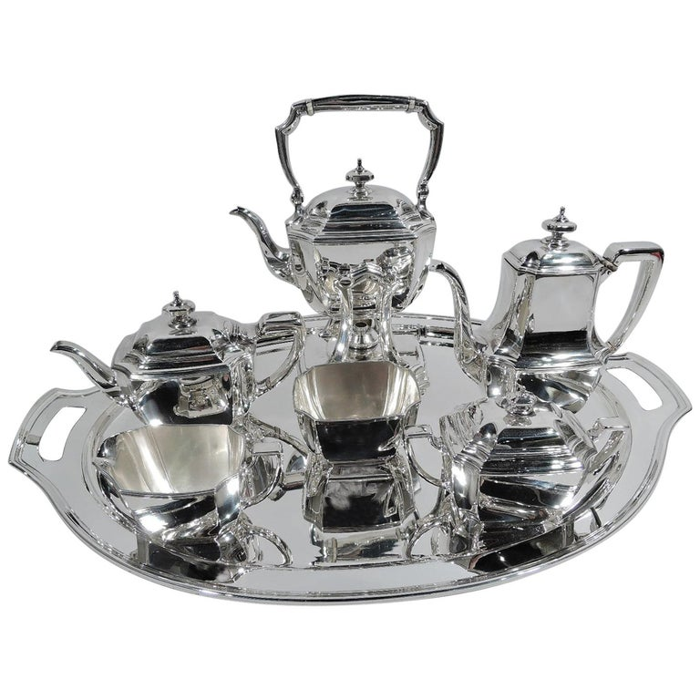 Tiffany Art Deco 6-Piece Coffee & Tea Set in Hampton Pattern on Tray