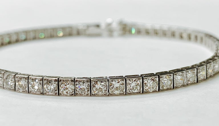 Tiffany & Co. Art Deco Diamond Straight Line Bracelet in Platinum For Sale 5