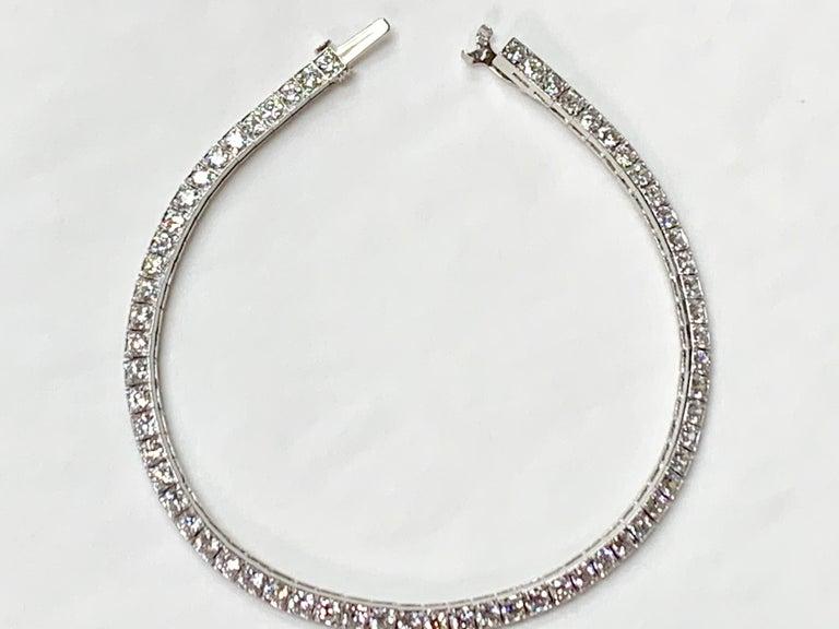 Round Cut Tiffany & Co. Art Deco Diamond Straight Line Bracelet in Platinum For Sale