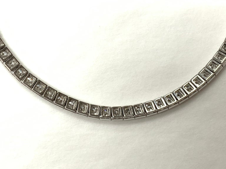 Women's Tiffany & Co. Art Deco Diamond Straight Line Bracelet in Platinum For Sale