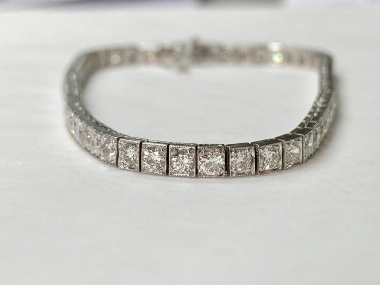 Tiffany & Co. Art Deco Diamond Straight Line Bracelet in Platinum For Sale 2