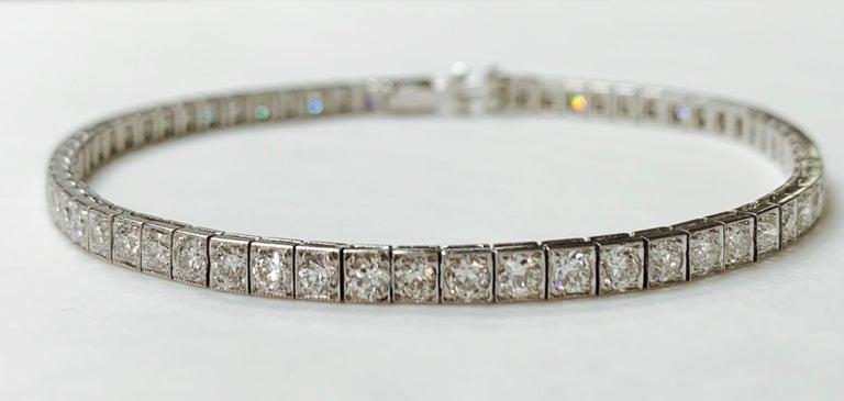 Tiffany & Co. Art Deco Diamond Straight Line Bracelet in Platinum For Sale 4