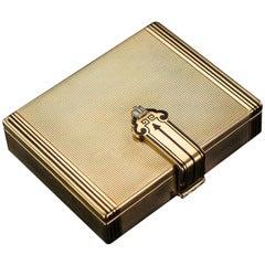 Tiffany Art Deco Gold, Enamel and Diamond Vanity Case, circa 1920
