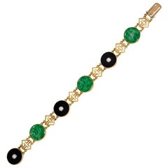 Tiffany & Co. Art Deco Gold, Jade, Onyx, and Diamond Chinoiserie Style Bracelet