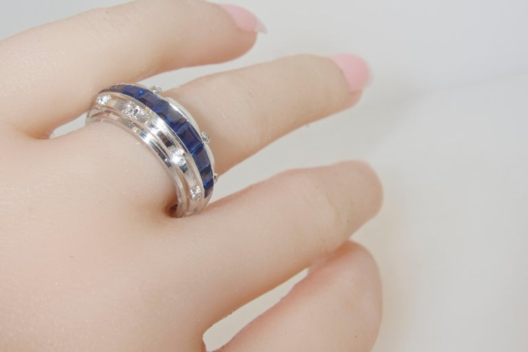 Tiffany Art Deco Sapphire and Diamond Band Ring For Sale 1