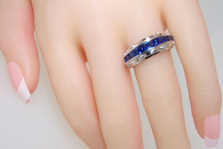Tiffany Art Deco Sapphire and Diamond Band Ring For Sale 2
