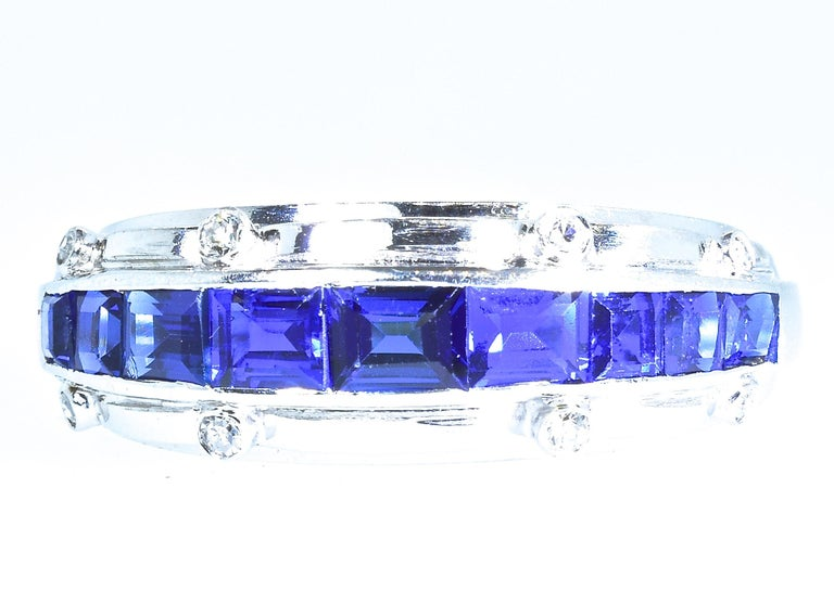 Tiffany Art Deco Sapphire and Diamond Band Ring For Sale 4