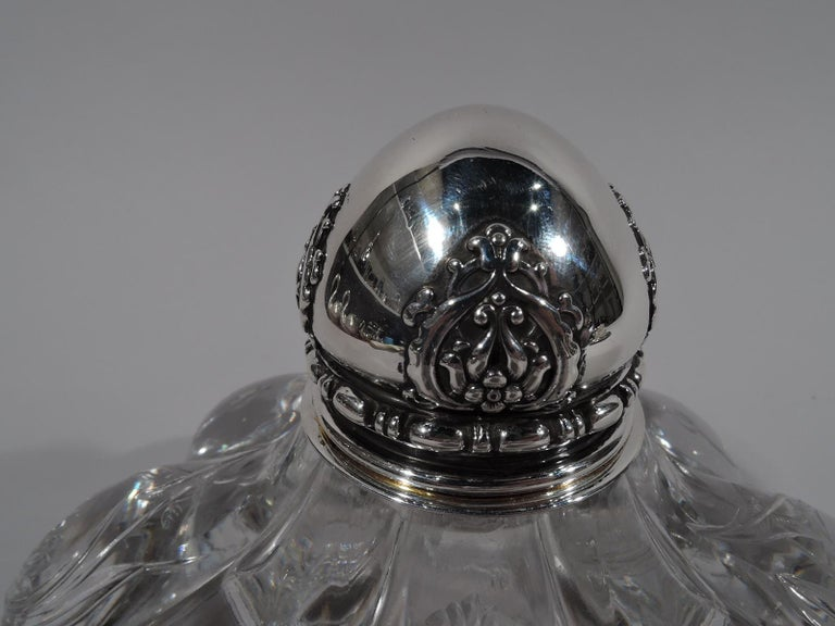 American Tiffany & Co. Art Nouveau Sterling Silver and Engraved Glass Inkwell For Sale