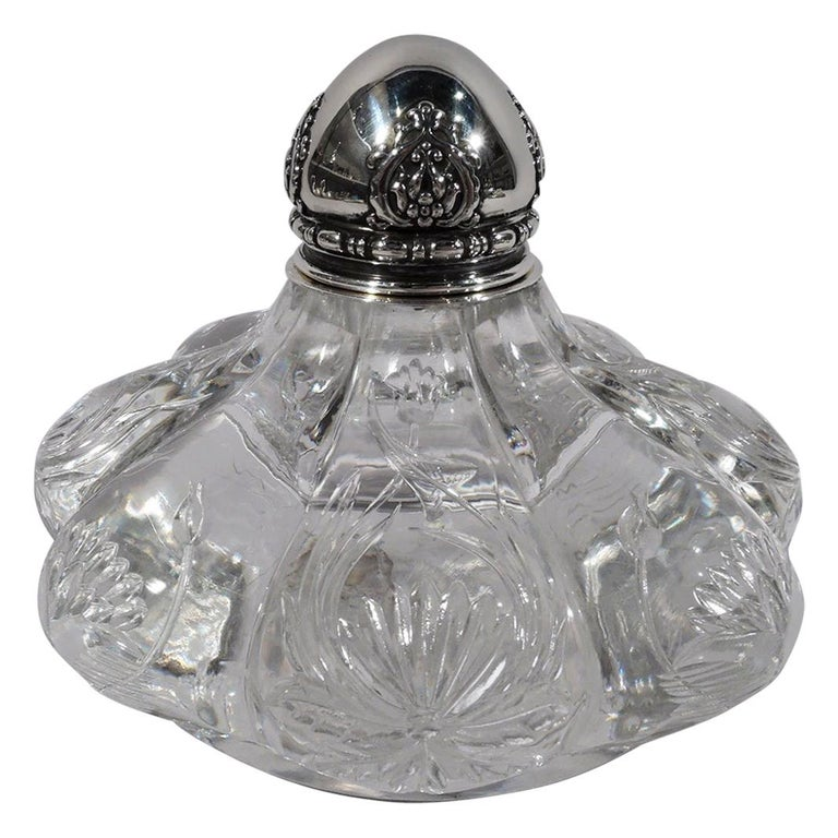 Tiffany & Co. Art Nouveau Sterling Silver and Engraved Glass Inkwell For Sale