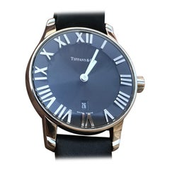 Tiffany & Co. Atlas Stainless Steel Watch 2 Hand, Black Dial