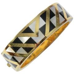 Tiffany Bangle Bracelet with Geometric Design of Inlaid Stones