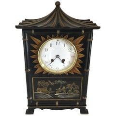Tiffany Black Chinoiserie Pagoda Mantel Clock, circa 1920