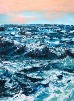 Sapphire Sea, Painting, Oil on Paper