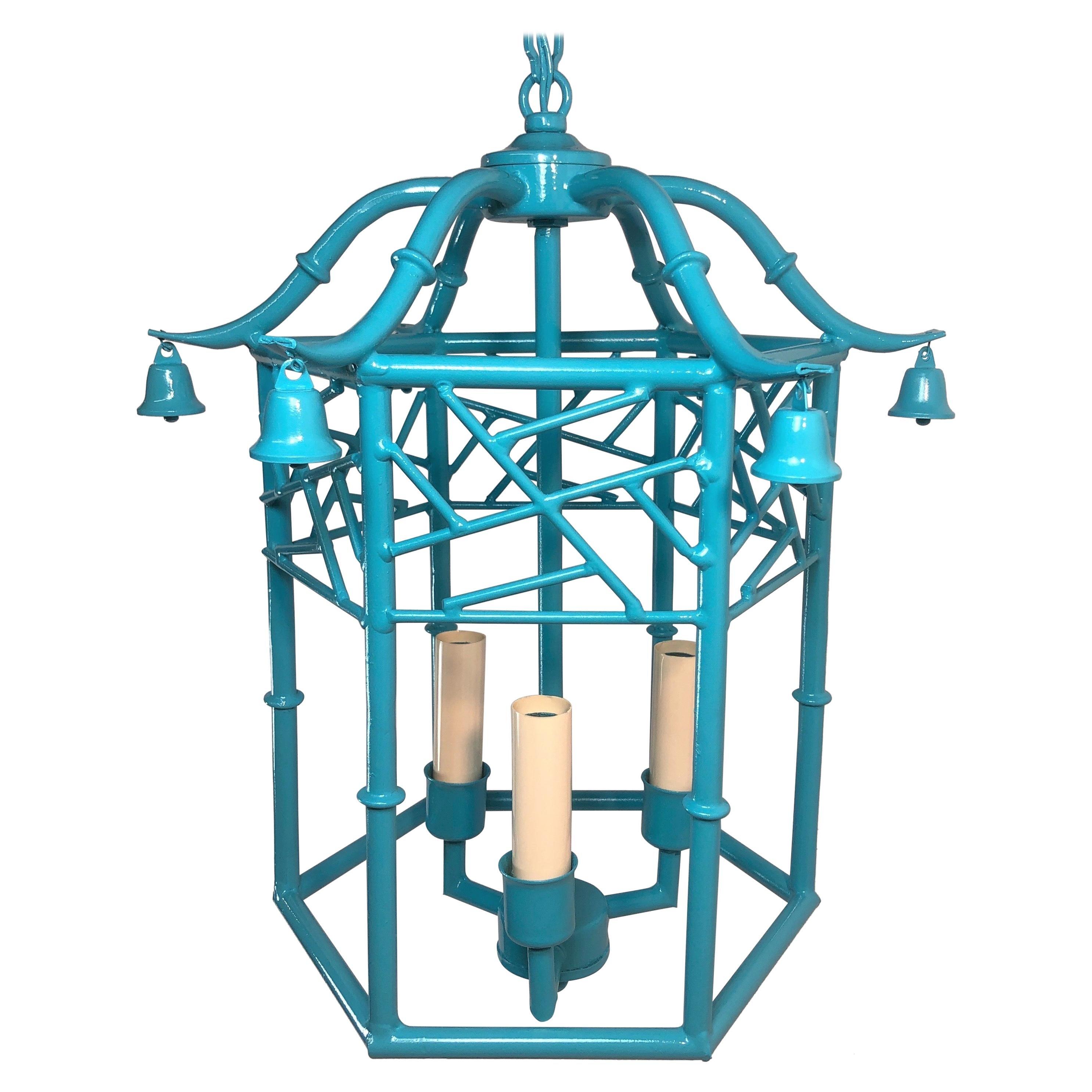 Tiffany Blue Faux Bamboo Pagoda Chandelier