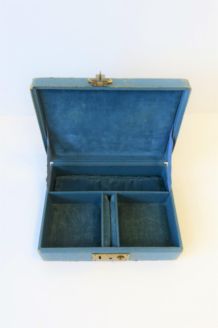 English Blue Leather and Brass Jewelry Box from London For Sale