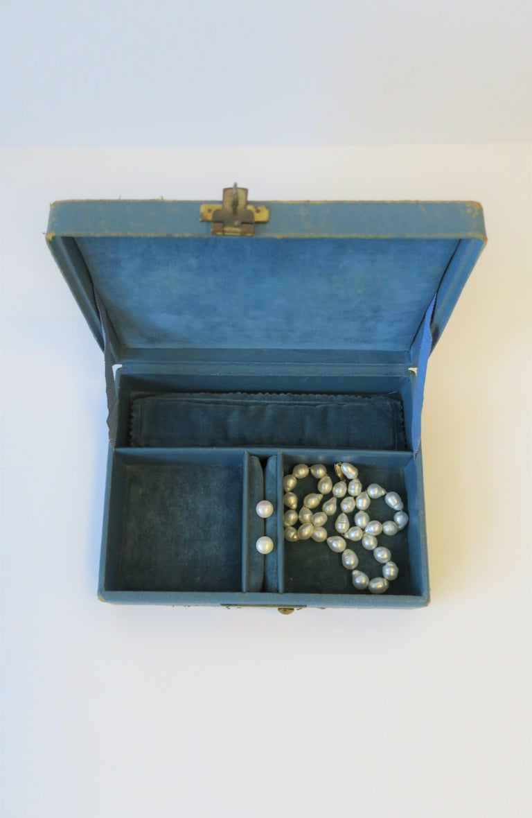 Blue Leather and Brass Jewelry Box from London For Sale 1