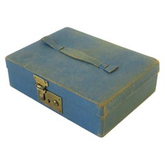 Blue Leather and Brass Jewelry Box from London
