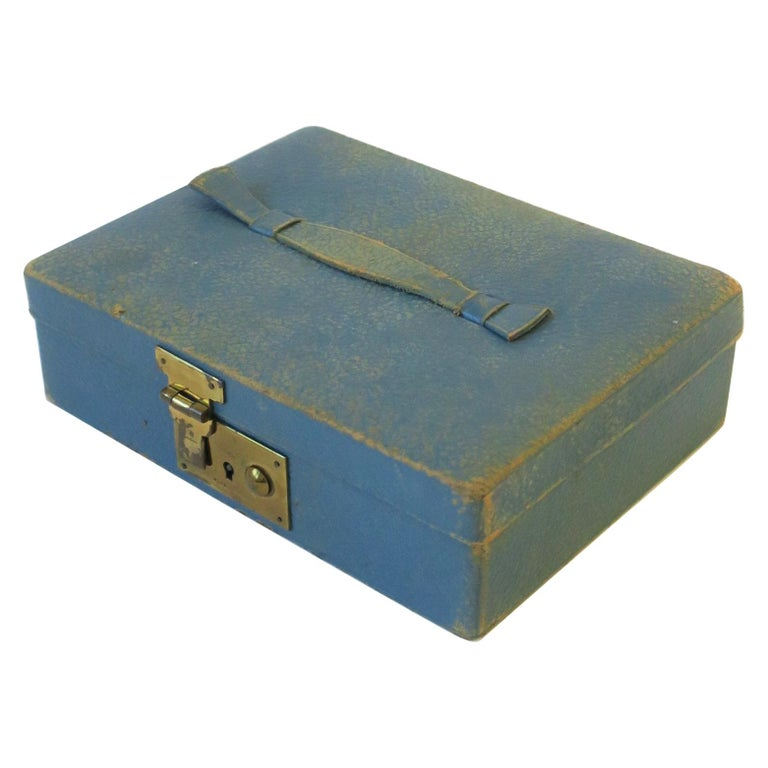 Blue Leather and Brass Jewelry Box from London For Sale
