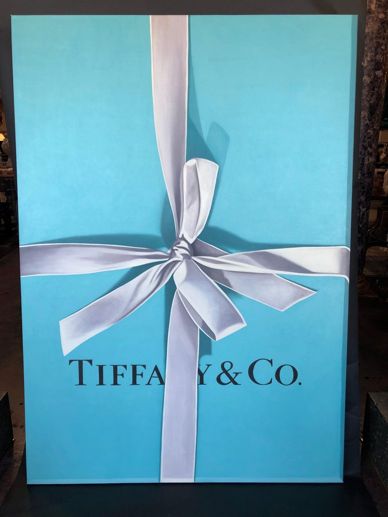 Tiffany gift box oil on canvas by Billy Monslave Duffo. Signed on back.