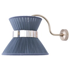 """Tiffany"" Bracket Wall Sconce in Grey Silk, Mat Brass Finish, Silvered Glass"