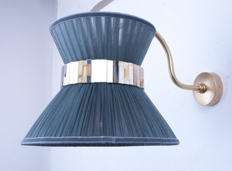 """Contemporary  """"Tiffany"""" Bracket Wall Sconce in purple Silk, Antiqued Brass, Silvered Glass"""
