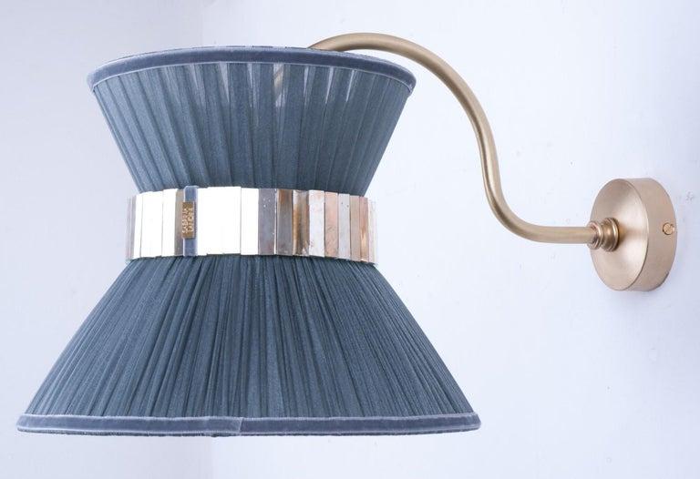 """Tiffany"" Bracket Wall Sconce in purple Silk, Antiqued Brass, Silvered Glass   2"