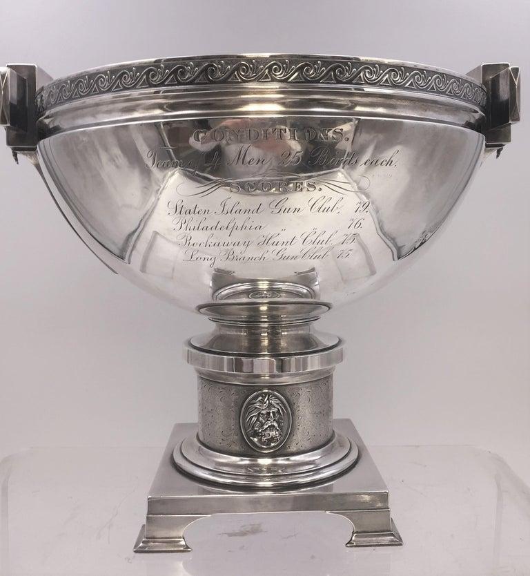 American Tiffany by Gorham Sterling Silver Medallion Presentation Trophy Centerpiece Bowl For Sale