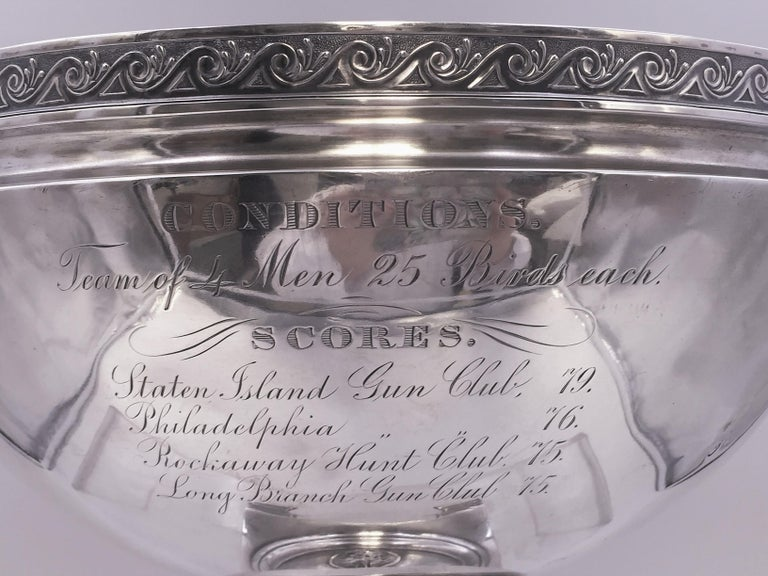 Mid-19th Century Tiffany by Gorham Sterling Silver Medallion Presentation Trophy Centerpiece Bowl For Sale
