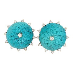Tiffany Carved Turquoise Diamonds Earclips