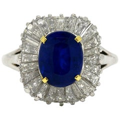 Tiffany Sapphire Cocktail Ring Diamond Ballerina Certified Unheated Natural