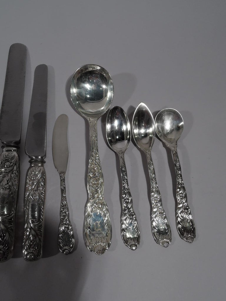 Japonisme Tiffany Chrysanthemum Sterling Silver Dinner Set with 145 Pieces For Sale