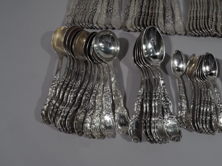 Tiffany Chrysanthemum Sterling Silver Dinner Set with 145 Pieces For Sale 2