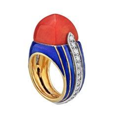 Tiffany & Co Circa 1970 Donald Clafin Coral Diamond Enamel Ring 18K Gold 17gr