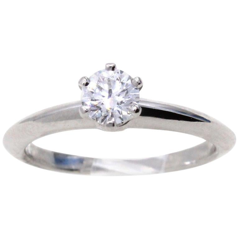 Tiffany & Co. 0.33 Carat E VVS2 Diamond Platinum Engagement Ring