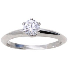 Tiffany & Co. 0.33 Carat E VVS2 Diamond Platinum Engagement Ring