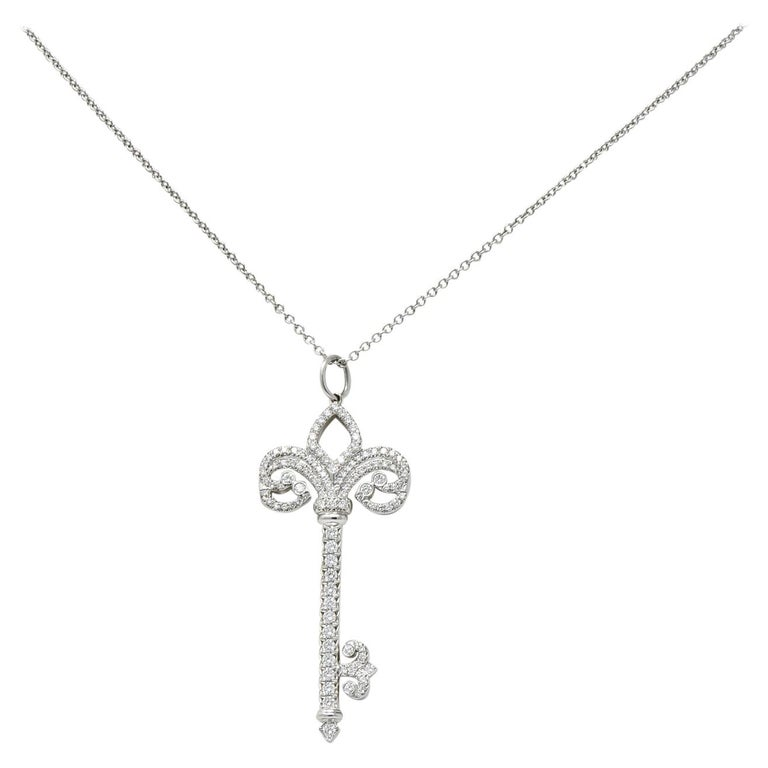 Tiffany And Co Diamond Platinum Fleur De Lis Key Pendant Necklace For Sale At 1stdibs