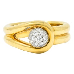 Tiffany & Co. 0.50 Carat Pave Diamond Platinum 18 Karat Gold Knot Ring