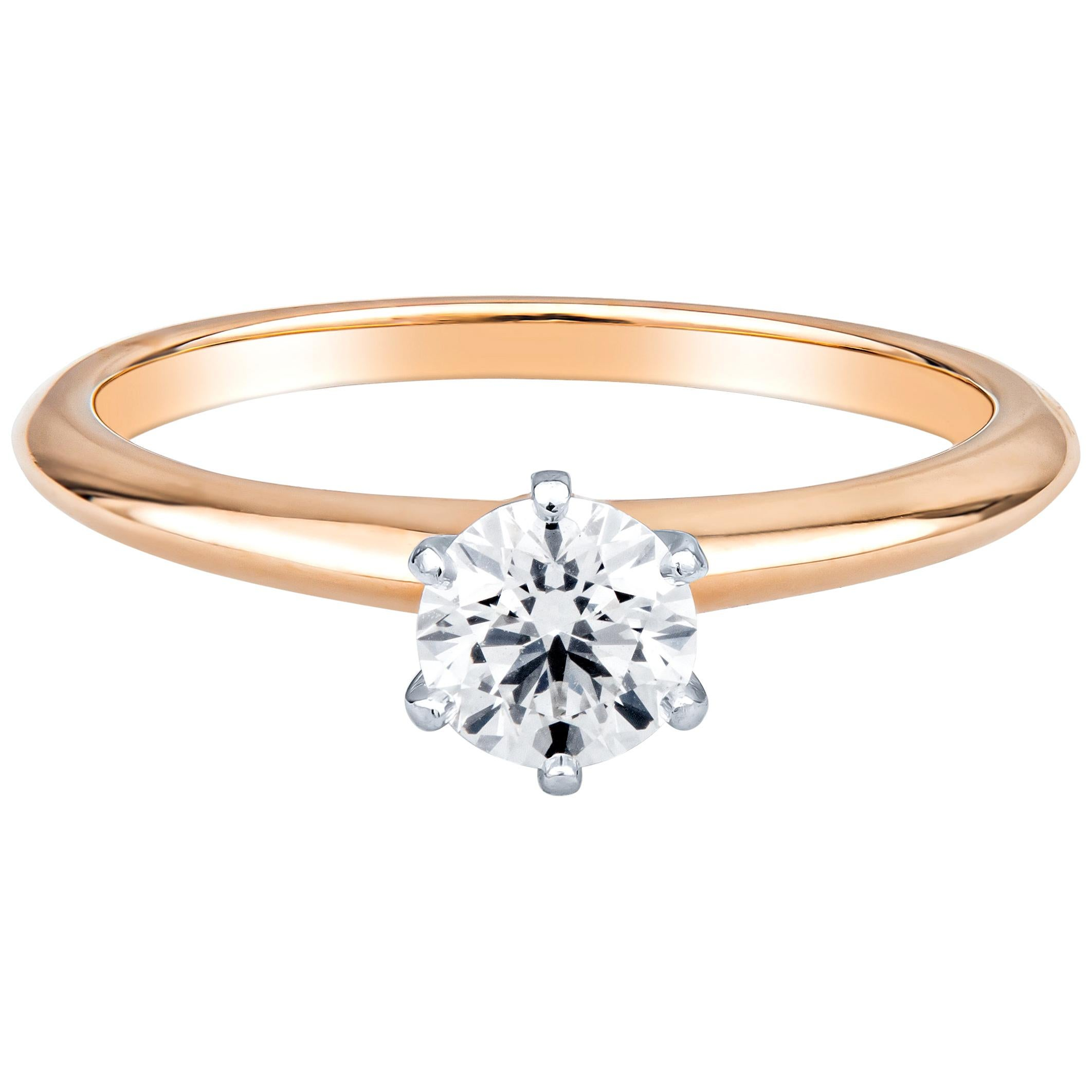 Tiffany & Co. 0.57ct Round I VS1 Diamond Solitaire Engagement Ring, 18kt Rose