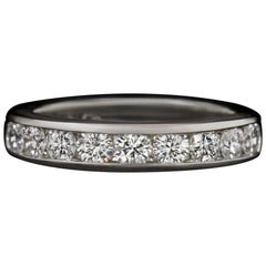 Tiffany & Co. 0.81ct F-G VS1 Cut Diamond Wedding Band Platinum Channel Classic