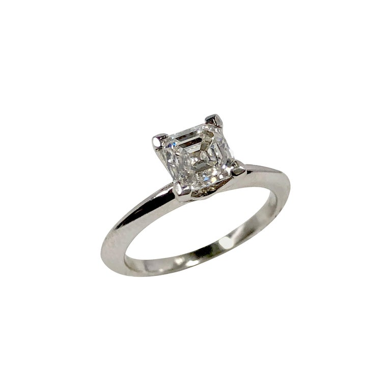 Tiffany & Co 1 Carat Square Step Cut Diamond and Platinum Engagement Ring For Sale