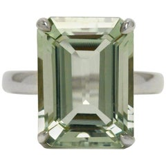 Tiffany & Co. 10 Carat Emerald Cut Prasiolite Silver Cocktail Ring