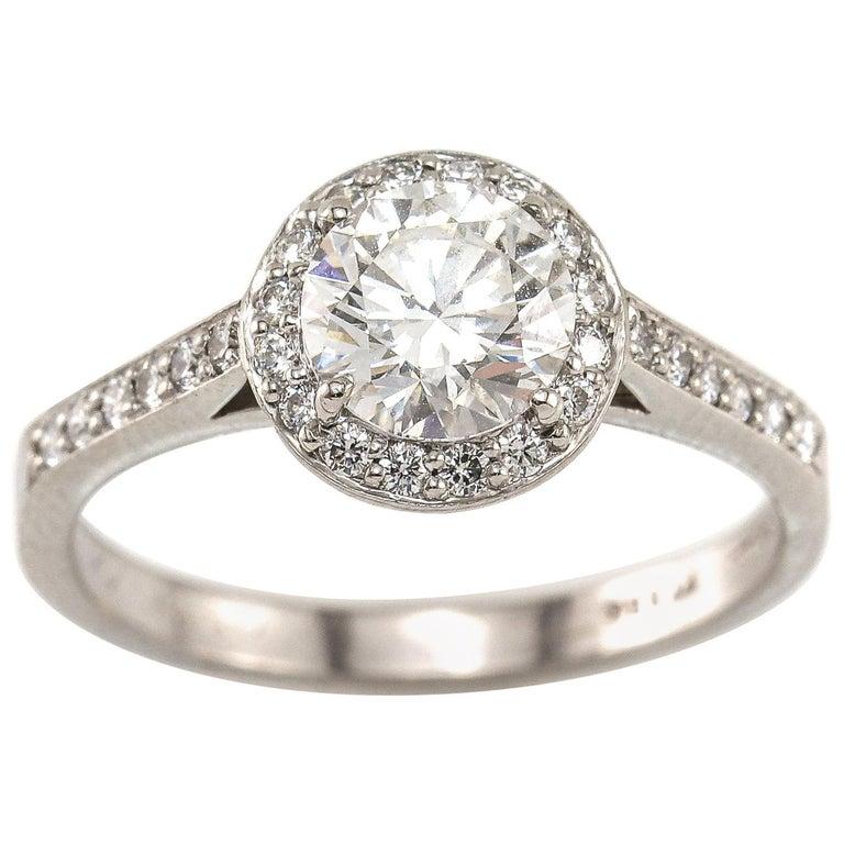 Tiffany And Co 1 00 Carat Gia Diamond With Diamond Halo