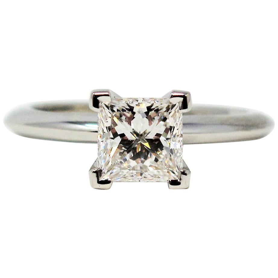 Tiffany & Co 1.00 Carat Princess Diamond Solitaire Engagement Ring Platinum