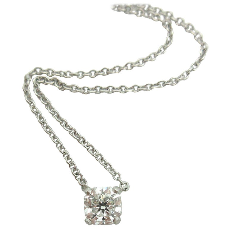 Tiffany And Co 1 01 Carat Gia Diamond Solitaire Necklace Platinum At 1stdibs