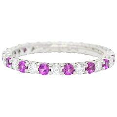 Tiffany & Co. 1.05 Carat Diamond Pink Sapphire Platinum Eternity Band